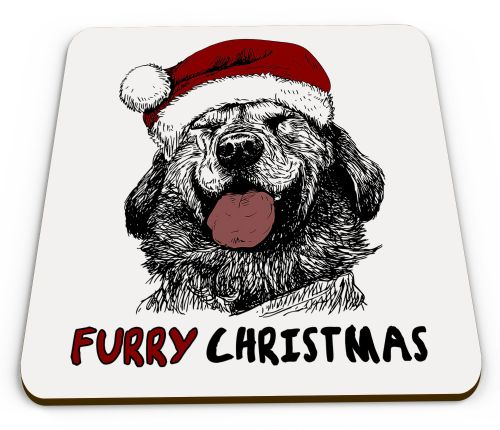 Furry Christmas Dog Sketch Cute Christmas Novelty Glossy Mug Coaster